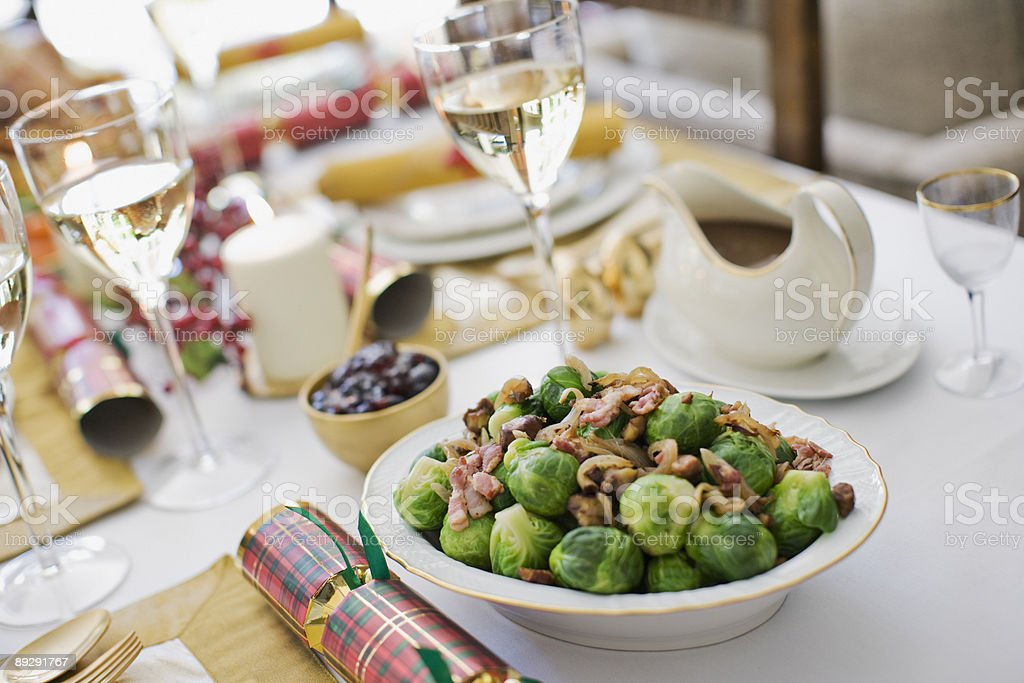 Brussels sprouts on Christmas table stock photo