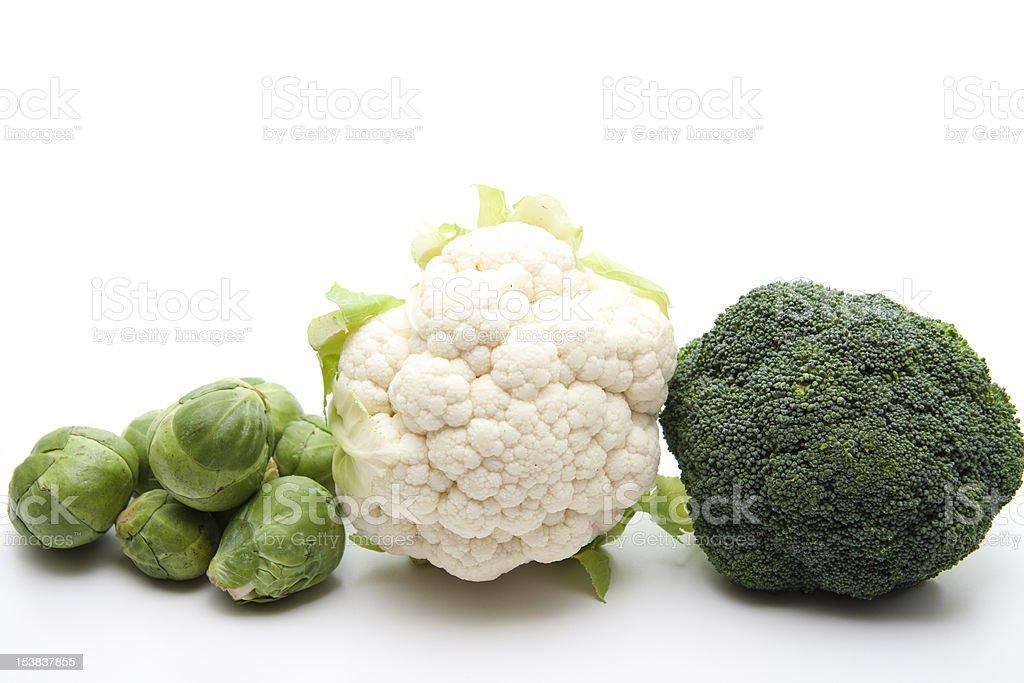 Bruselas sprouts con romanesco y broccoli - Foto de stock de Brécol libre de derechos