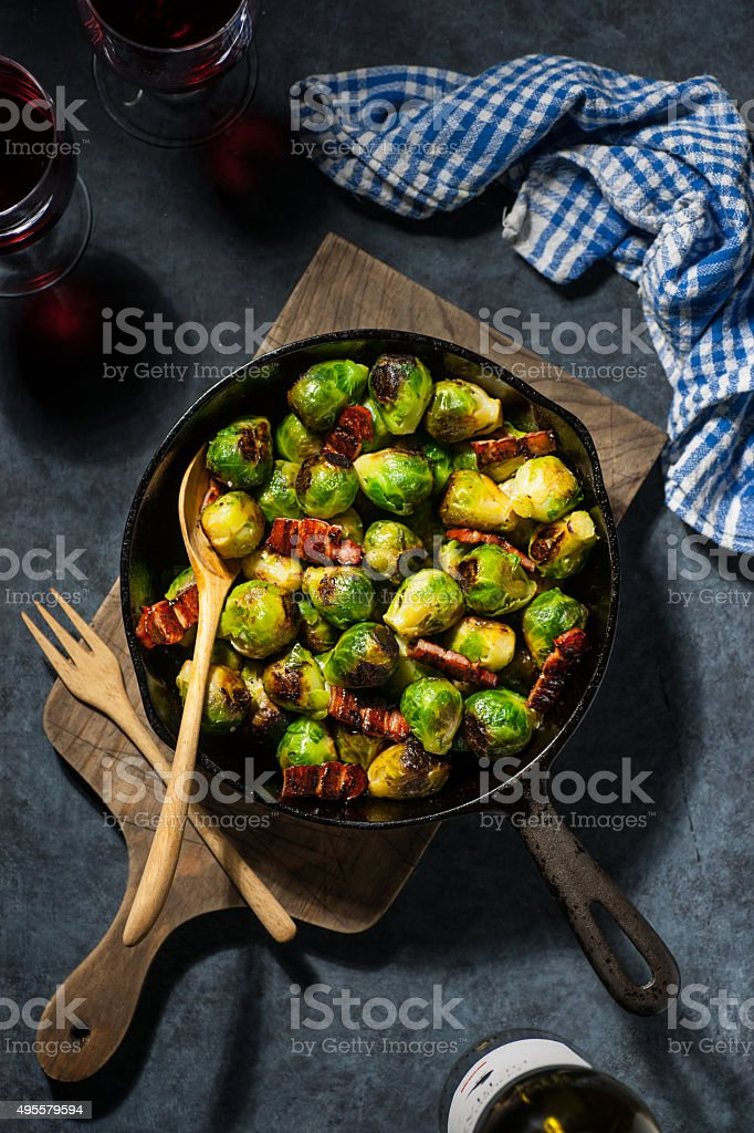 Brussels Sprouts with Char Siu Glazed Bacon stock photo