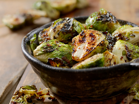 BBQ Grilled Brussels Sprouts with Grainy Mustard, Honey Glaze