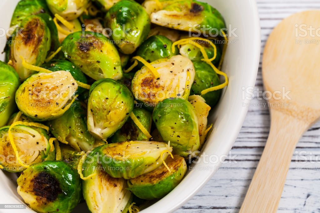 Brussels Sprouts With Lemon stock photo