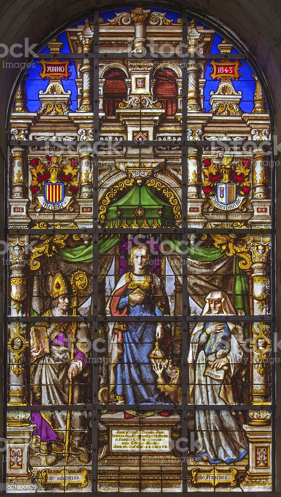 Brussels - st. Gudula on windowpane in the cathedral stock photo