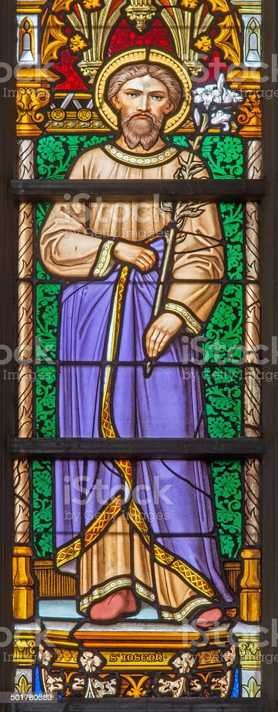 Brussels - st. Joseph on windowpane in the cathedral stock photo