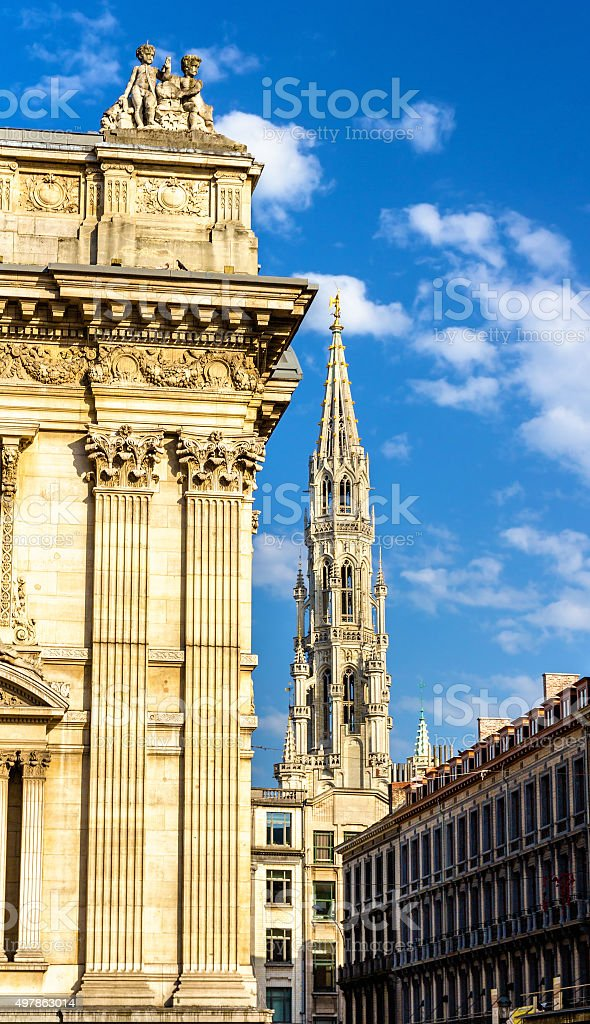 Brussels Stock Exchange and tower of City Hall - Belgium stock photo