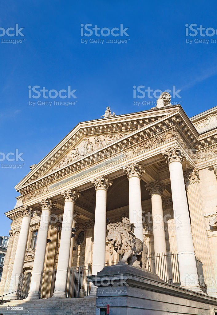 Brussels stock exchange facade stock photo