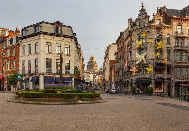 Brussels. Street in the historical center. stock photo