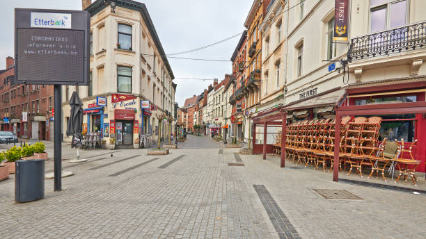 Brussels streets without any people during the confinement period. stock photo