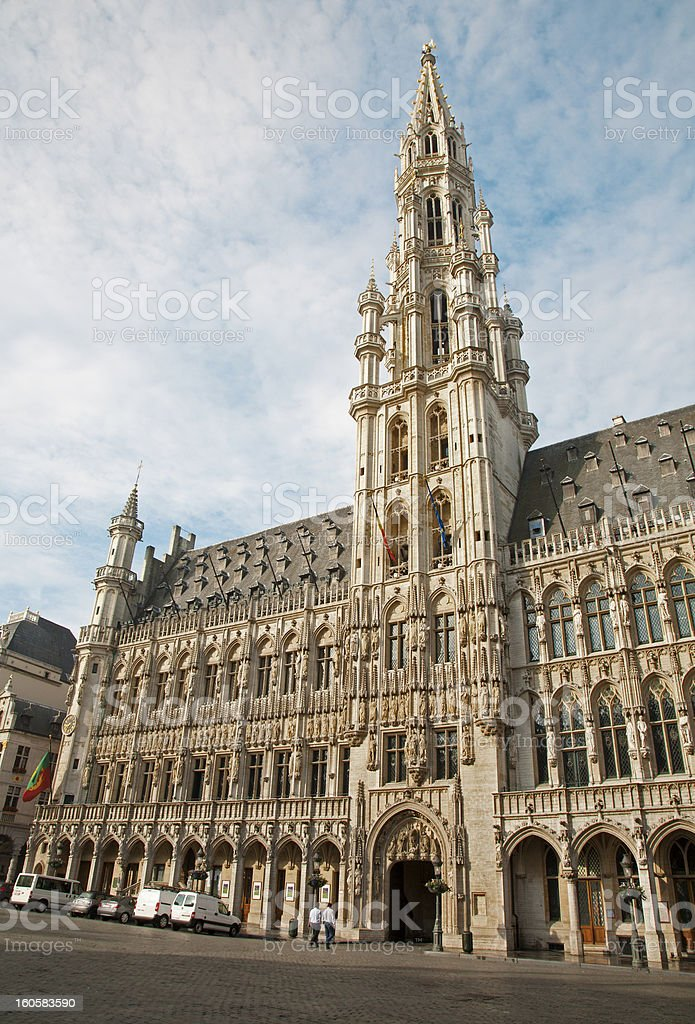 Brussels - The main square and Town hall in morning stock photo
