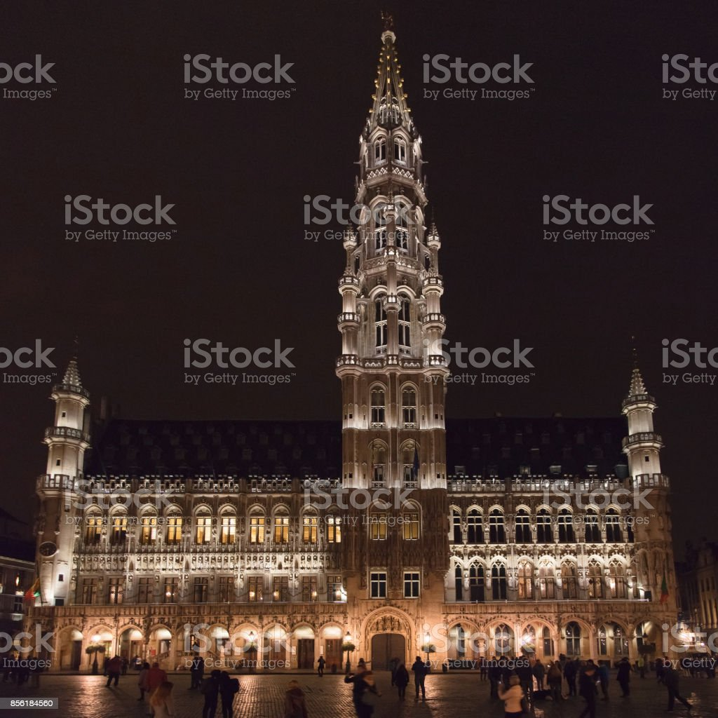 Brussels Town Hall at Night stock photo