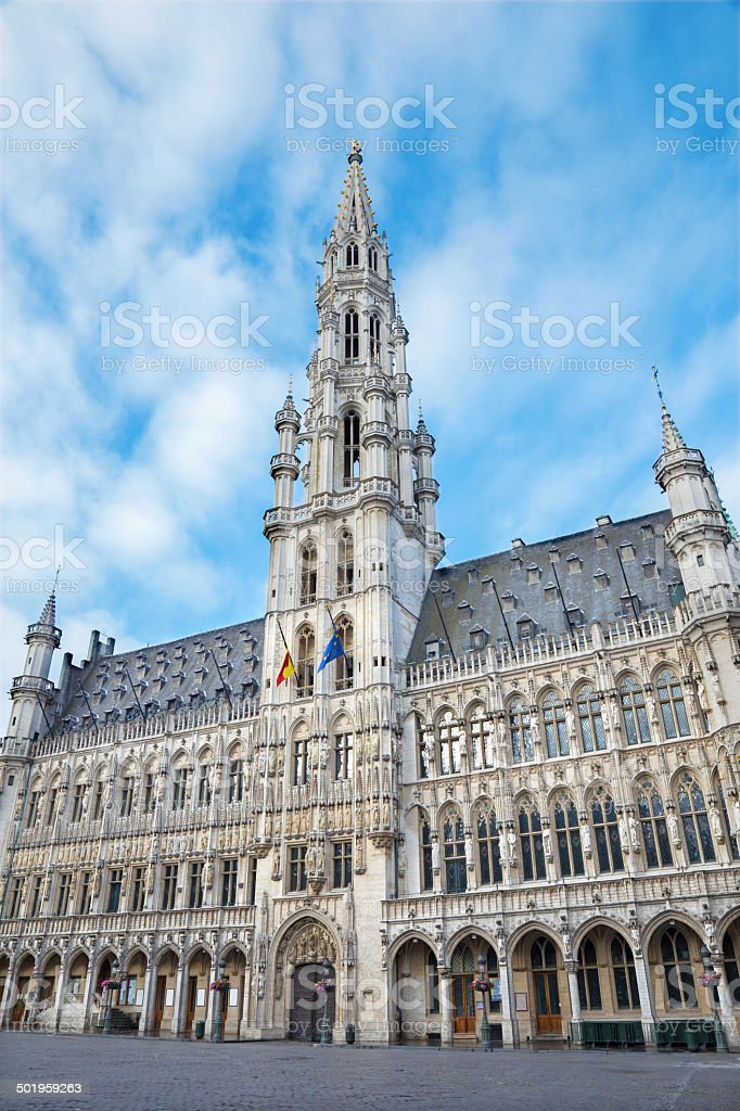 Brussels - Town hall gothic building. stock photo