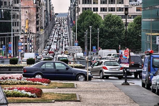 Brussels traffic stock photo