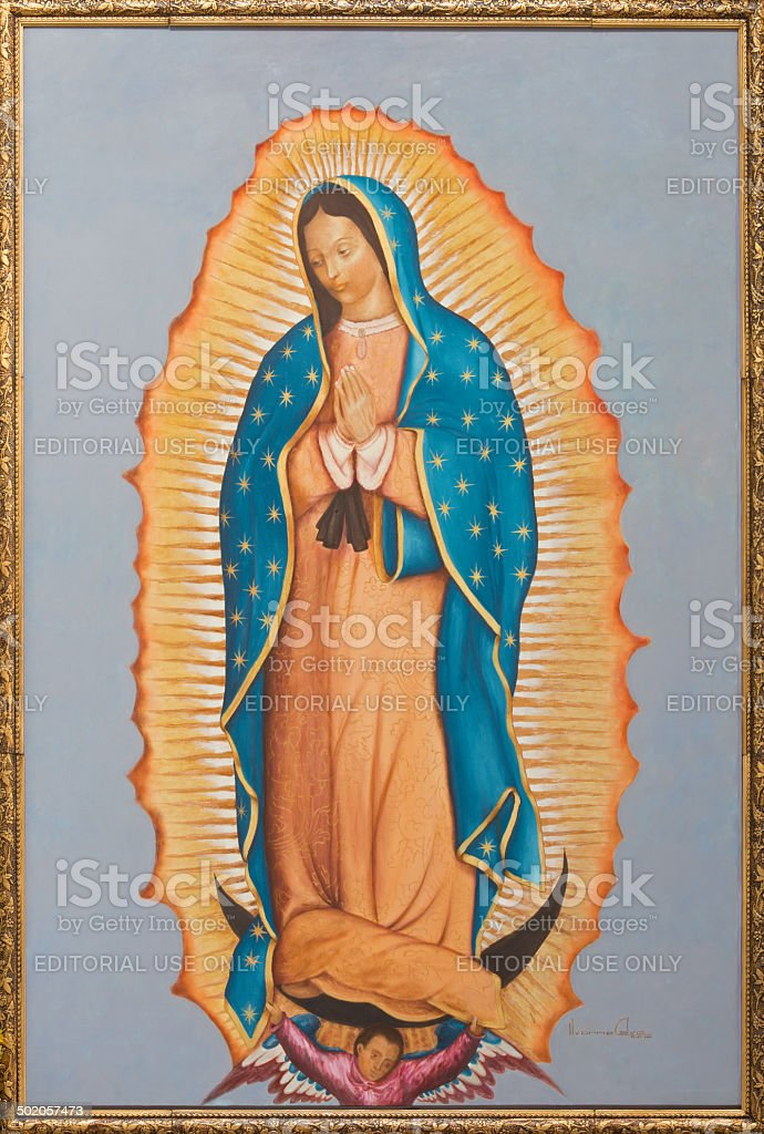 Brussels -  Virgin Mary of Guadalupe stock photo