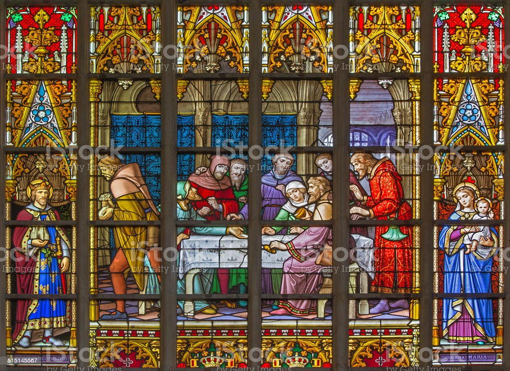 Brussels - Widowpane of Last Supper in the cathedral stock photo