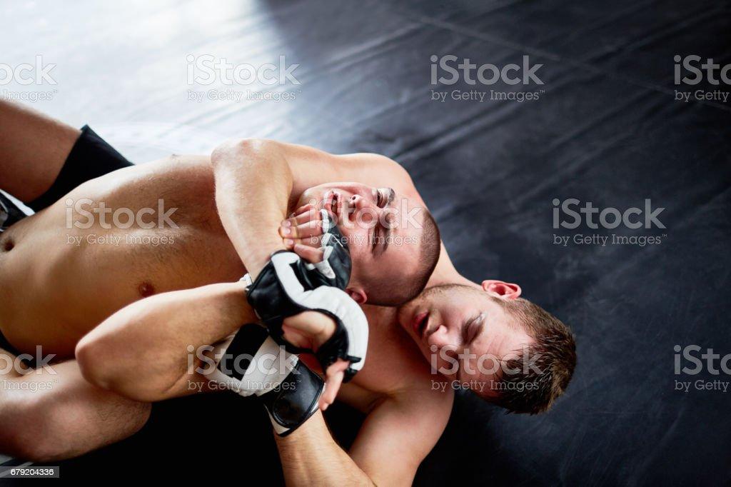 Brutal Wrestling Fight on Floor stock photo