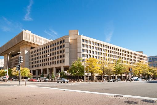 Washington DC USA - October 28 2014; Brutalist architecture of J Edgar Hoover building, home of the FBI