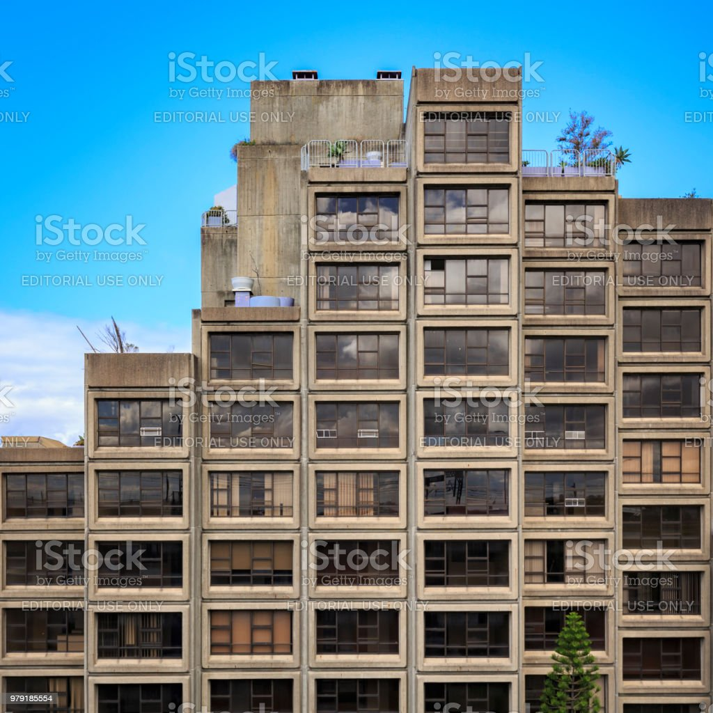 Brutalist architecture, Sirius apartment building in Sydney, Australia stock photo
