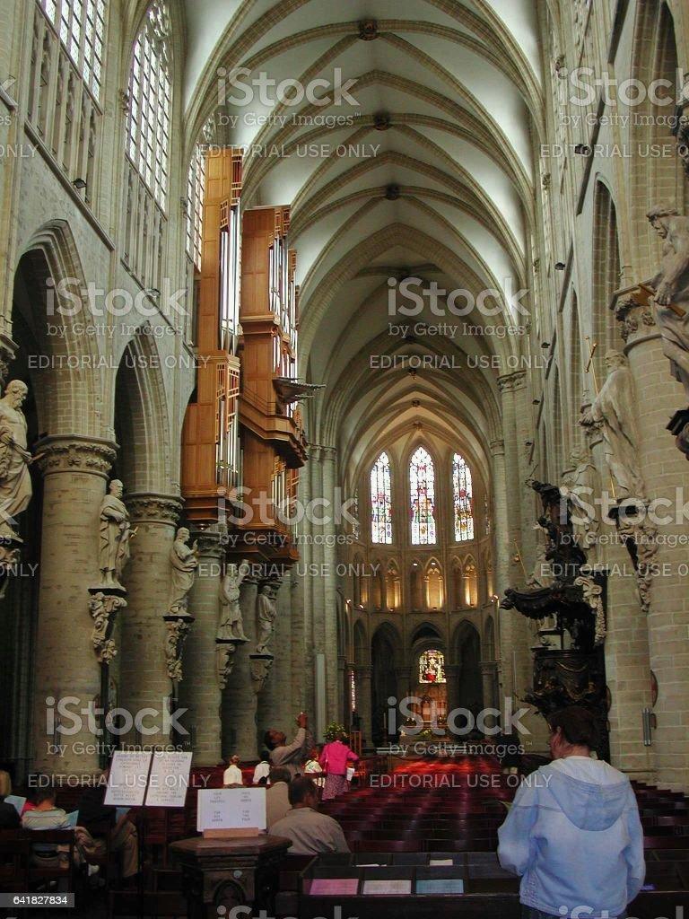 Bruxelles - Navata centrale del Duomo stock photo