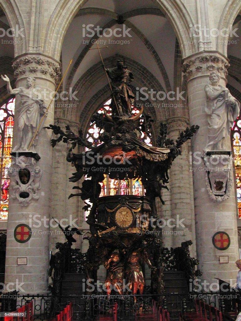 Bruxelles - Pulpito della Cattedrale stock photo