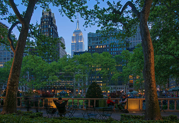 Bryant Park at Twilight with Empire State Building Lit Up