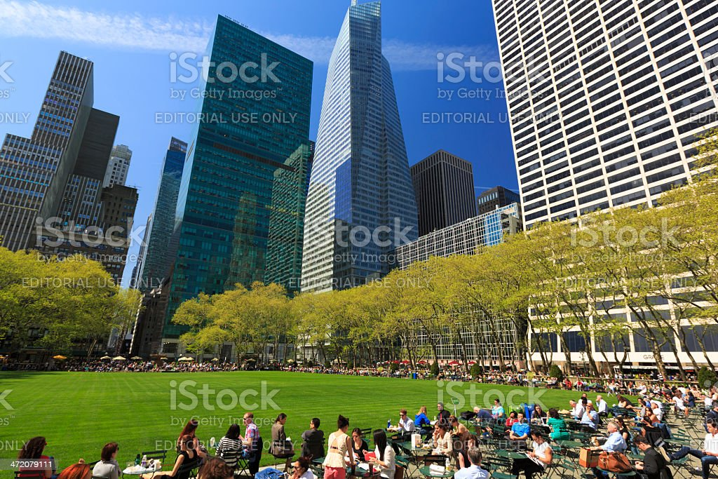 Bryant Park in Midtown Manhattan, NYC royalty-free stock photo