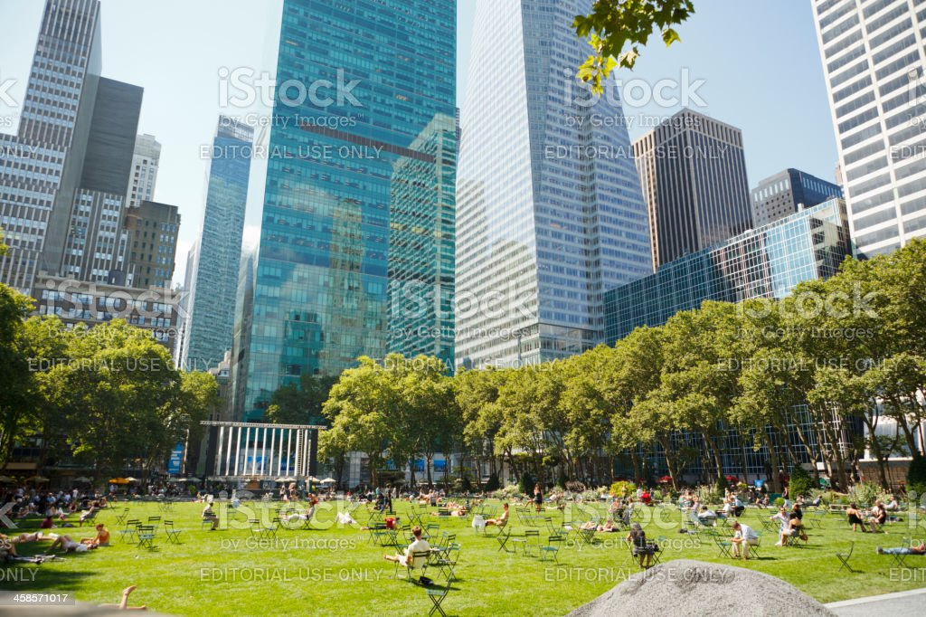 Bryant Park Lawn and Surrounding Buildings New York City stock photo
