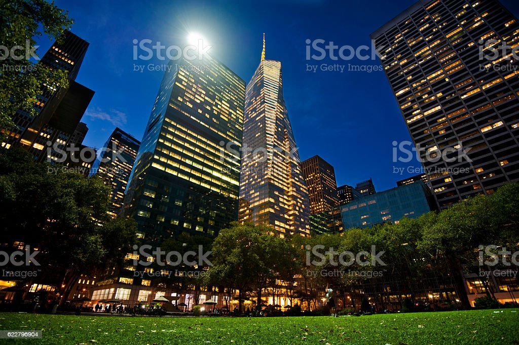 Bryant Park Lights at Night stock photo