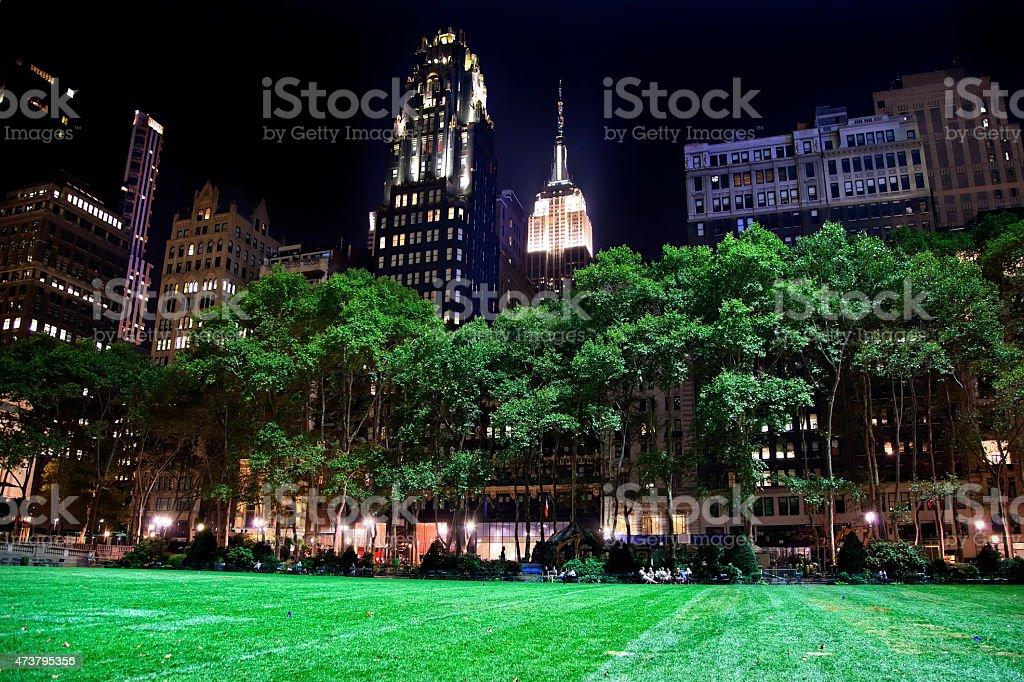 Bryant Park New York City New York Skyline  Night stock photo