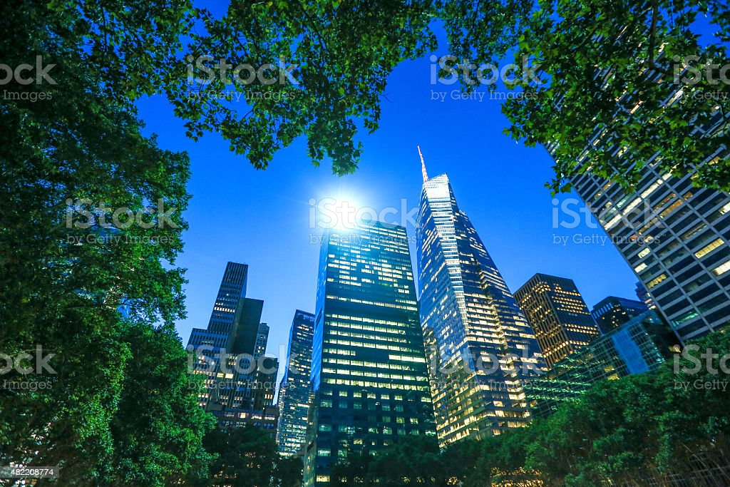 Bryant Park New York City Skyline Night stock photo