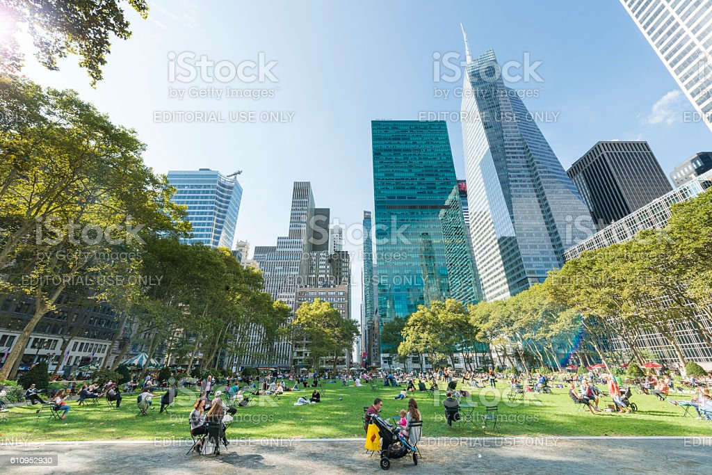 NYC Bryant Park on Sunny Autumn Day Midtown Manhattan stock photo