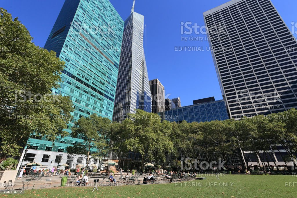 Bryant Park on warm day of September stock photo