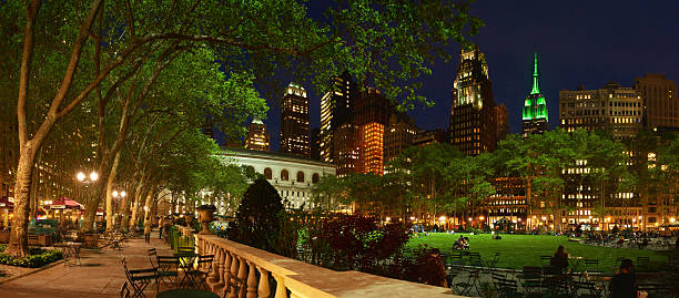 Bryant Park Panaramic at Night with Empire State in Green