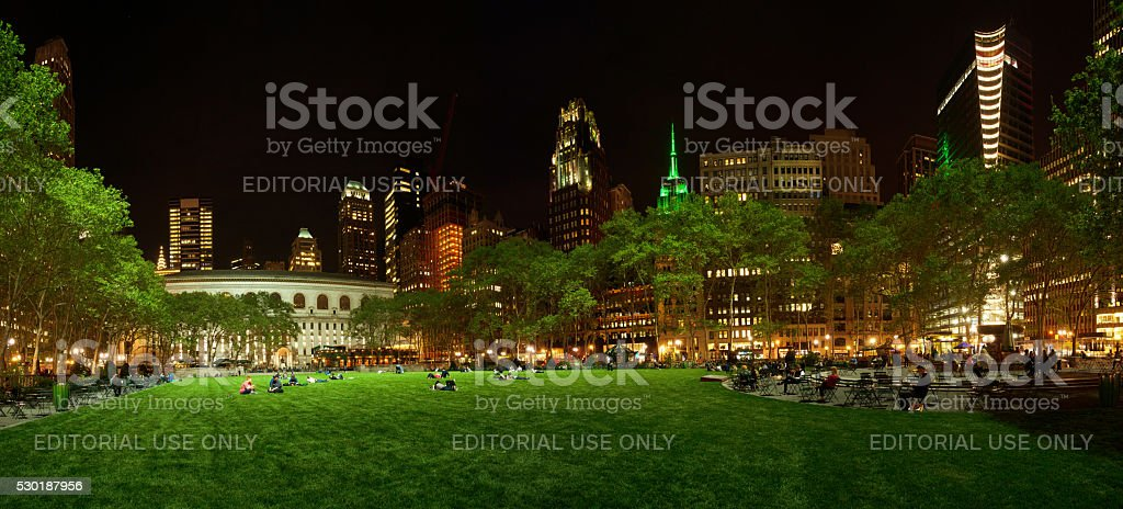 Bryant Park Panaramic at Night with Empire State in Green stock photo
