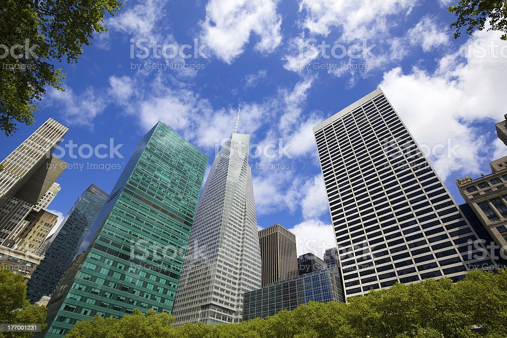 Bryant Park Skyscrapers royalty-free stock photo