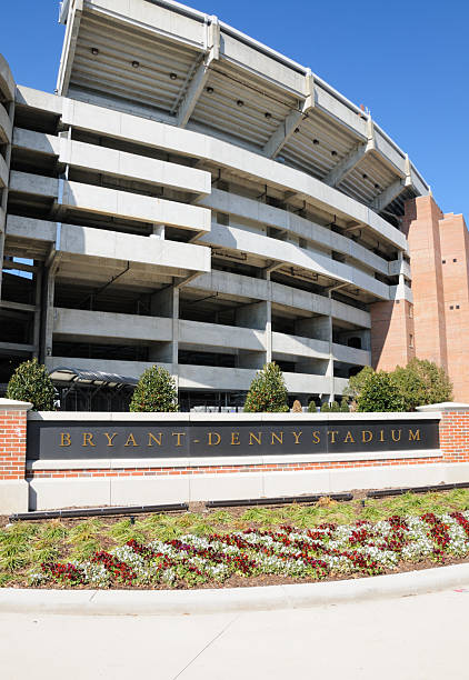 Bryant-Denny Stadium and sign on sunny day stock photo
