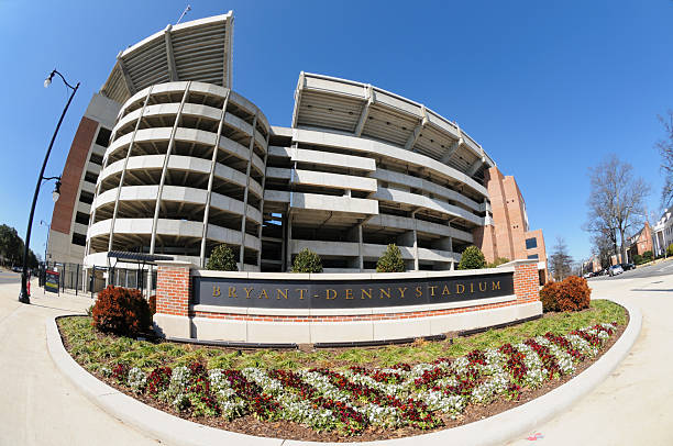 Bryant-Denny stadium and sign stock photo