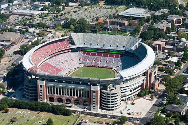 Bryant-Denny Stadium in Tuscaloosa stock photo