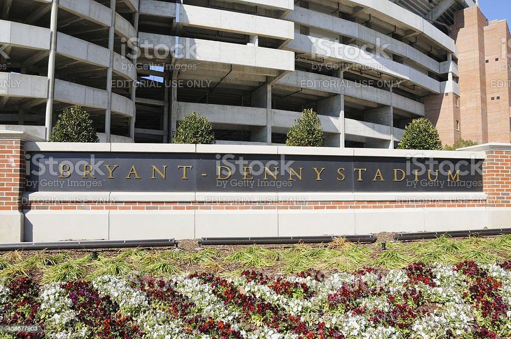 Bryant-Denny Stadium Sign Close Up stock photo