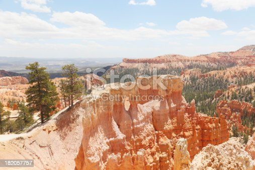 rock hoodoos near Bryce Canyon against blue and cloudy sly