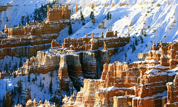 bryce canyon in winter - bryce canyon national park stockfoto's en -beelden