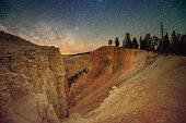 This is a horizontal, color photograph of Bryce Canyon National Park in Utah, USA at night with the Milky Way in the sky in springtime.