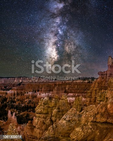 Nightshot in bryce canyon national park with milkyway in the background and the hoodoos in the foreground. Utah. USA