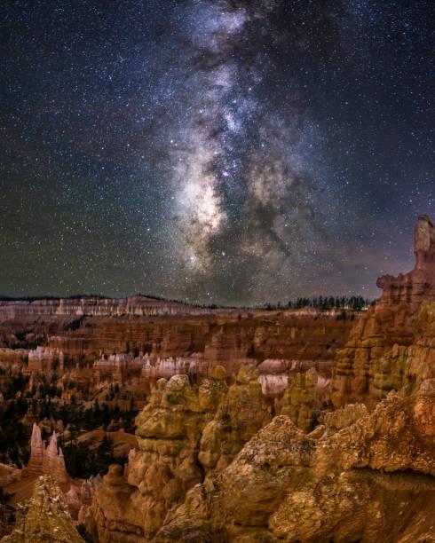 Bryce-Canyon-Nationalpark in der Nacht mit der Milchstraße. Utah. USA – Foto
