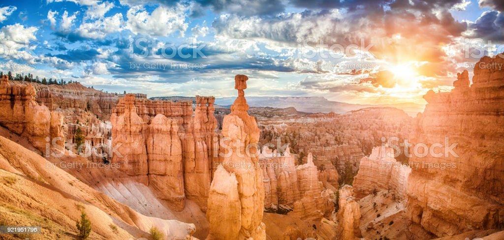 Bryce Canyon National Park at sunrise with dramatic sky, Utah, USA royalty-free stock photo