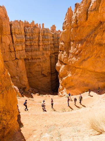 Bryce Canyon, Utah (USA) - 6 August 2016: Tourists are hiking at Bryce Canyon National Park, Utah (USA).