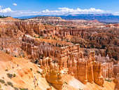 Bryce Canyon, Utah (USA) - 6 August 2016: Tourists are hiking at Bryce Canyon National Park, Utah (USA).