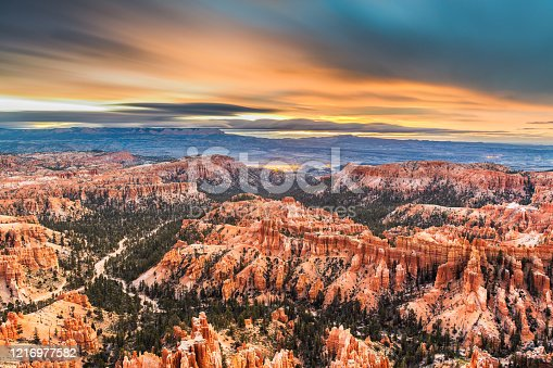 Bryce Canyon National Park, Utah, USA landscape of hoods at dawn.