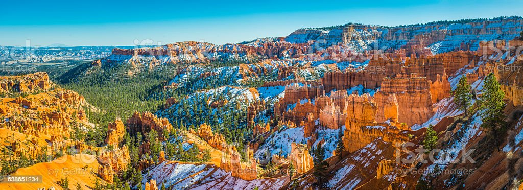 Bryce Canyon National Park Utah snowy Ponderosa forests golden hoodoos stock photo