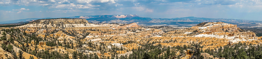 Bryce Canyon panorama, cloudy day, clouds far away but sunlight on canyon, perfect picture for canvas print.