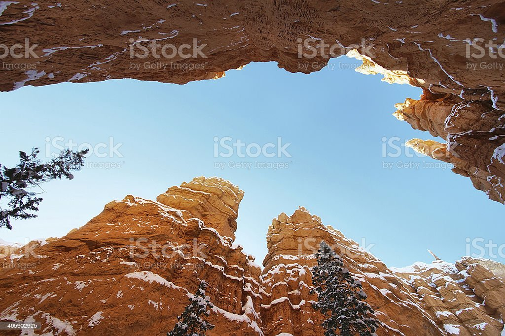 Bryce canyon panorama with snow in Winter stock photo