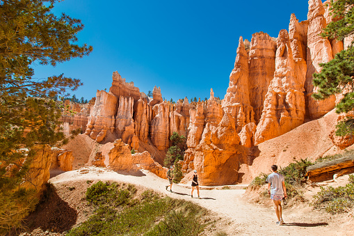 Tourists hiking among the sandstone hoodoos and pinnacles in Bryce Canyon National Park in Utah on the Queen's Garden trail.